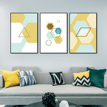 Load image into Gallery viewer, Abstract Parallelogram Nordic Style Wall Art Modern Geometric Shapes Hexagon Triangle Fine Art Canvas Prints Scandinavian Home Decor