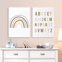 Load image into Gallery viewer, Cute Rainbow Alphabet Nursery ABC Wall Art Posters Fine Art Canvas Prints Nordic Style Pictures For Baby's Room Kids Room Wall Decor