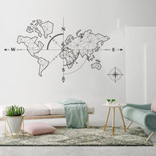 Load image into Gallery viewer, World Map Wall Art Decal Global Explorer Compass World Travel Theme PVC Wall Mural For Office Classroom World Map DIY Vinyl Wall Art Decor