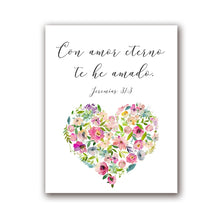 Load image into Gallery viewer, Con Amor Eterno Love Quote Wall Art Simple Minimalist Floral Watercolor Flower Heart Fine Art Canvas Print Love Quotation Picture For Bedroom