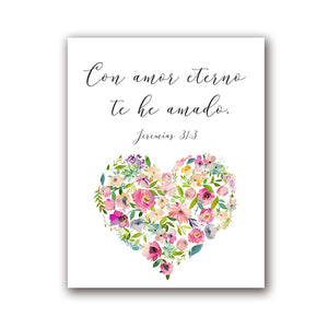 Con Amor Eterno Love Quote Wall Art Simple Minimalist Floral Watercolor Flower Heart Fine Art Canvas Print Love Quotation Picture For Bedroom