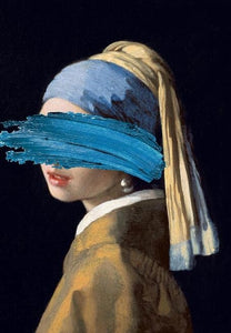 Altered Abstract Famous Paintings Wall Art Girl With A Pearl Earring By Johannes Vermeer Fine Art Canvas Print Surreal Vintage Vogue Gallery Wall Art Decor