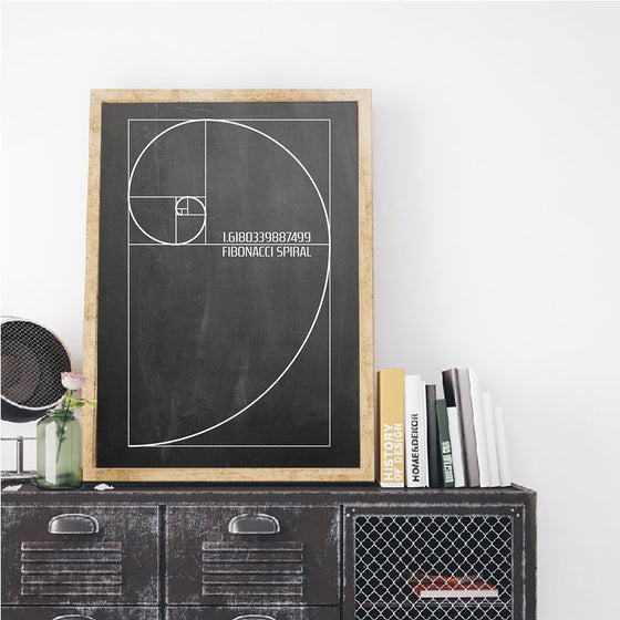 Fibonacci Spiral Artistic Geometry Wall Art Mathematical Golden Ratio Scientific Poster Black And White Fine Art Canvas For Home Office Classroom Wall Art