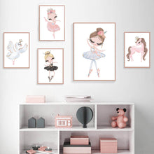 Load image into Gallery viewer, Cute Ballet Dancing Princess Nursery Wall Art Pink Unicorn Swan Princess Girl's Room Posters Nordic Style Modern Pictures For Kids Room Bedroom Decor