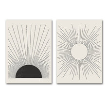 Load image into Gallery viewer, Abstract Sun Rays Wall Art Minimalist Mid Century Vintage Block Print Illustrations Fine Art Canvas Prints Pictures For Living Room Home Office Wall Decor