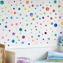 Load image into Gallery viewer, Rainbow Star Wall Colorful Stars & Dots Wall Art Stickers Nursery Wall Decal Stickers For Kids Bedroom DIY Removable PVC Wall Stickers