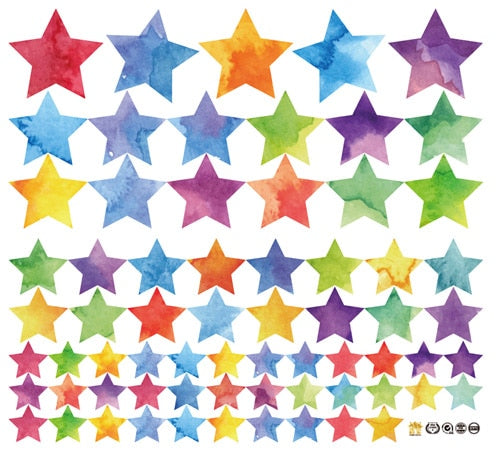 Rainbow Star Wall Colorful Stars & Dots Wall Art Stickers Nursery Wall Decal Stickers For Kids Bedroom DIY Removable PVC Wall Stickers