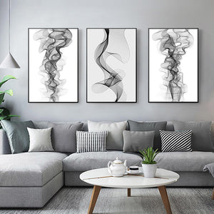 Abstract Vapor Trails Black And White Minimalist Wall Art Fine Art Canvas Prints Modern Pictures For Living Room Bedroom Home Office Interior Decor