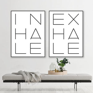 Inhale Exhale Poster Black & White Minimalist Meditation Breathe Wall Art Fine Art Canvas Prints Modern Typographic Wall Decor For Bedroom Yoga Studio Decor