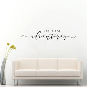Life Is For Adventures Wall Decal Inspirational Travel Lifestyle Quote Removable PVC Wall Sticker Creative Wall Decor Simple DIY Home Interior Decoration