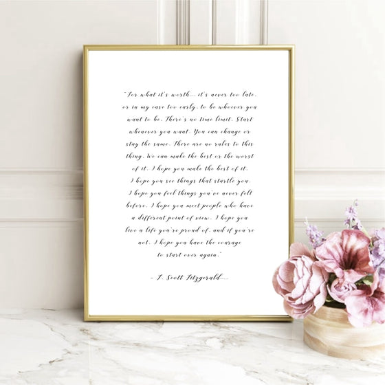For What It's Worth Quote F Scott Fitzgerald Handwritten Note Quotations Wall Art Fine Art Canvas Print Minimalist Literary Art Posters For Simple Home Decor