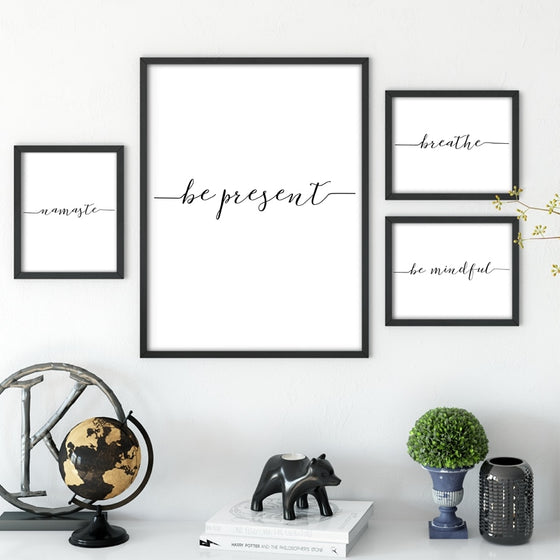 Be Present Yoga Meditation Poster Black And White Fine Art Canvas Print Namaste Breathe Mindfulness Quotations Wall Decor Nordic Minimalist Home Decor
