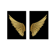 Load image into Gallery viewer, Luxury Golden Wings Black Gold Wall Art Modern Chic Fashion Salon Pictures Fine Art Canvas Giclee Prints For Boutique Living Room Glam Home Decor