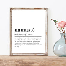 Load image into Gallery viewer, Namaste Definition Poster Inspirational Zen Wall Art Black And White Fine Art Canvas Prints Quotations For Yoga Studio Meditation Bedroom Wall Art Decor