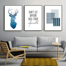 Load image into Gallery viewer, Don't Let Anyone Dull Your Sparkle Blue Nordic Minimalist Wall Art Fine Art Canvas Prints Quotations Posters For Office Or Home Living Room Modern Home Decor