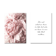 Load image into Gallery viewer, Pink Peonies Simple Quotation Wall Art Minimalist Fine Art Canvas Prints Modern Posters For Living Room Bedroom Home Interior Decor
