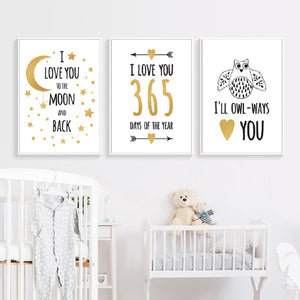 I Love You To The Moon Minimalist Nordic Nursery Wall Art Fine Art Canvas Prints Modern Love Quotes Posters For Kids Room Baby's Room Wall Decor