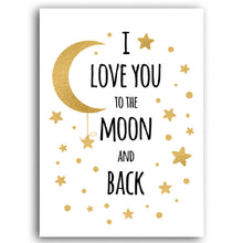 Load image into Gallery viewer, I Love You To The Moon Minimalist Nordic Nursery Wall Art Fine Art Canvas Prints Modern Love Quotes Posters For Kids Room Baby's Room Wall Decor