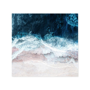 Blue Sea Surf Nordic Seascape Wall Art Beach From Above Fine Art Canvas Giclee Print Modern Landscape Picture For Office Living Room Modern Home Decor