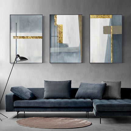 Abstract Modern Nordic Wall Art Gray Blue Golden Fine Art Canvas Prints Pictures For Contemporary Living Room Bedroom Home Office Luxury Interior Decor