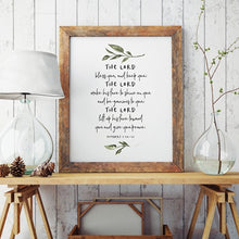 Load image into Gallery viewer, Minimalist Floral Bible Verse Wall Art The Lord Bless You Quotation Poster Fine Art Canvas Print Pictures For Living Room Kitchen Bedroom Wall Art Decor