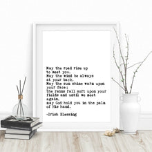 Load image into Gallery viewer, May The Road Rise Up To Meet You Simple Irish Blessing Quote Wall Art Black White Minimalist Fine Art Canvas Print Modern Pictures For Home Office Interior Decor