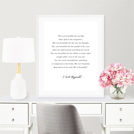 She Was Beautiful F. Scott Fitzgerald Quote Wall Art Black White Fine Art Canvas Print Minimalist Nordic Wall Decor For Modern Home Interior Bedroom Wall Decor
