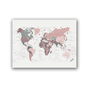 Global Destination World Map Wall Art Fine Art Canvas Prints Subtle Shades Subdued Colors Modern Travel Poster For Business Office Home Interior Wall Decor