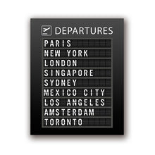 Load image into Gallery viewer, Airline Departures Board Wall Art Poster Airport Travel Destinations Black White Fine Art Canvas Prints Modern Art Decor For Home Office Interior Design