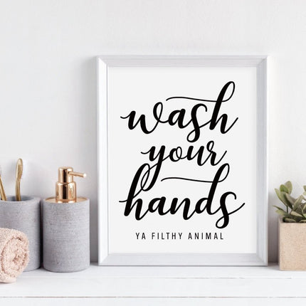 Wash Your Hands Quote Posters Motivational Wall Art Nordic Style Typographic Black & White Posters Pictures For Kitchen Bathroom Wall Decor