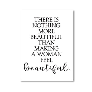 Minimalist Beautiful Quotation Wall Art Poster For Beauty Salon Black White Fine Art Canvas Print Simple Typographic Picture For Girls Bedroom Wall Decor