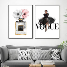 Load image into Gallery viewer, Vogue Fashion Wall Art Pink Perfume Floral Girl In Black Dress Fine Art Canvas Prints Modern Pictures For Girls Room Bedroom Living Room Salon Wall Art Decor
