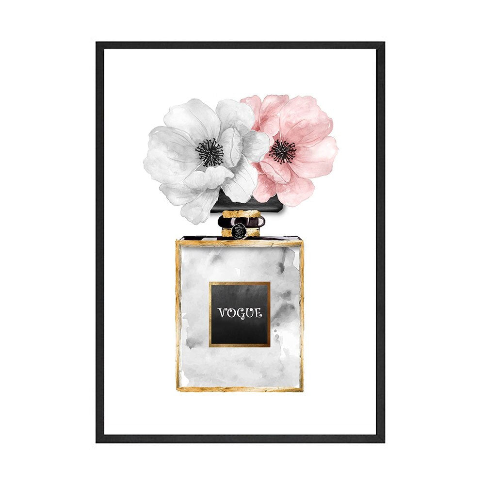 Vogue Fashion Wall Art Pink Perfume Floral Girl In Black Dress Fine Art Canvas Prints Modern Pictures For Girls Room Bedroom Living Room Salon Wall Art Decor