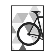 Load image into Gallery viewer, Simple Geometric Bike Minimalist Wall Art Nordic Style Fine Art Canvas Prints Black And White Bicycle Poster Pictures For Living Room Cycling Modern Wall Art