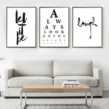 Load image into Gallery viewer, Always Look On The Bright Side Quotes Wall Art Let It Be Quotation Fine Art Canvas Prints Black And White Minimalist Nordic Typographic Motivational Posters