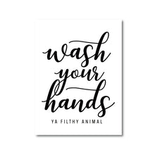 Load image into Gallery viewer, Wash Your Hands Quote Posters Motivational Wall Art Nordic Style Typographic Black & White Posters Pictures For Kitchen Bathroom Wall Decor