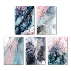 Colorful Ink Splash Abstract Wall Art Pink Gray Blue Subtle Hues Fine Art Prints Modern Nordic Marble Posters For Living Room Contemporary Bedroom Decor