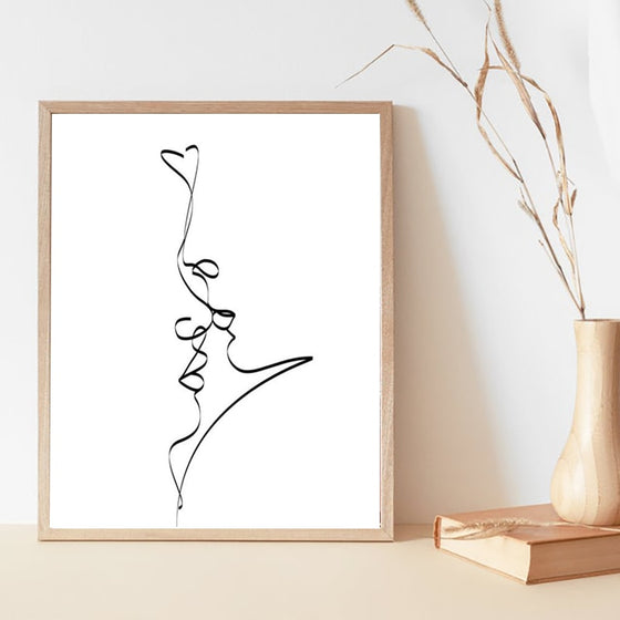 Simple Kiss Abstract Line Art Wall Art Fine Art Canvas Print Black White Minimalist Monochrome Illustration Love Poster For Living Room Bedroom Home Decor