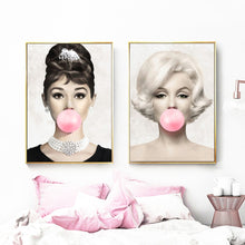 Load image into Gallery viewer, Pink Bubblegum Movie Star Glamour Portrait Wall Art Fine Art Canvas Prints Fashion Salon Pictures For Living Room Girls Bedroom Glam Home Decor