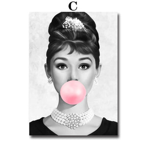 Pink Bubblegum Movie Star Glamour Portrait Wall Art Fine Art Canvas Prints Fashion Salon Pictures For Living Room Girls Bedroom Glam Home Decor