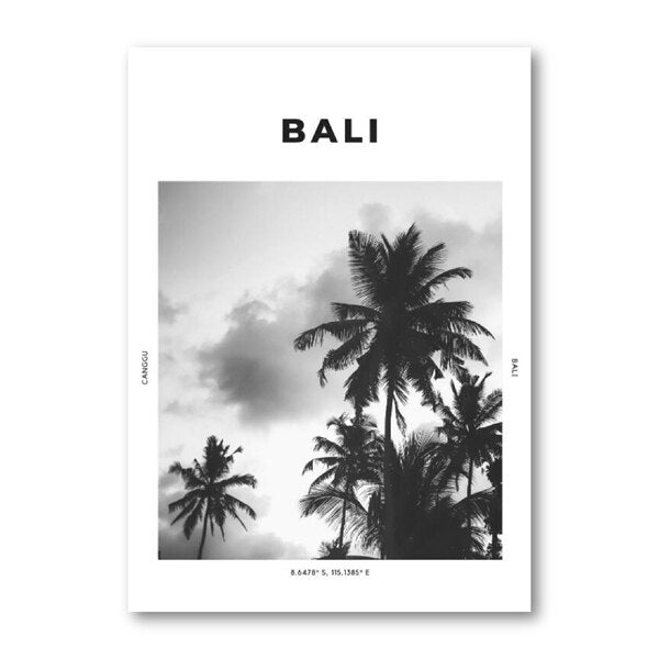 Bali Tropical Island Travel Poster Wall Art Palm Trees Holiday Goals Black And White Fine Art Canvas Print Simple Minimalist Modern Home Interior Decor