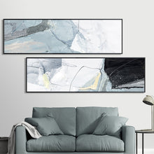 Load image into Gallery viewer, Wide Format Abstract Wall Art Marble Effect Gray Blue Black Fine Art Canvas Prints Pictures For Above Bed Bedroom Decor Modern Painting For Above Sofa
