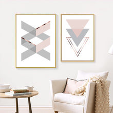 Load image into Gallery viewer, Abstract Geometric Wall Art Fine Art Canvas Prints Gray Pink White Minimalist Nordic Style Pictures For Bedroom Living Room Scandinavian Home Decor