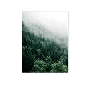 Misty Valley Green Forest Wall Art Mountain Wilderness Landscape Pictures Of Calm Fine Art Canvas Prints For Living Room Nordic Home Office Interior Decor