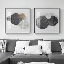 Load image into Gallery viewer, Abstract Geometric Circles Wall Art Natural Elements Marble Wood Texture Effect Fine Art Canvas Prints Pictures For Modern Home Office Interior Decor
