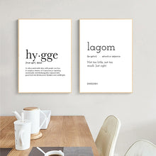 Load image into Gallery viewer, Hygge Lagom Definition Minimalist Nordic Wall Art Black White Fine Art Canvas Prints Swedish Danish Norwegian Lifestyle Quotes Posters For Modern Home Office