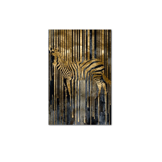 Abstract Golden Zebra Nordic Style Modern Wall Art Fine Art Canvas Print For Living Room Loft Deco Picture For Living Room Bedroom Home Interior Decor