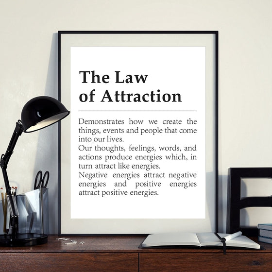 Definition Of The Law Of Attraction Fine Art Canvas Print Black White Text Minimalist Wall Art Daily Motivational Posters For Bedroom Living Room Decor