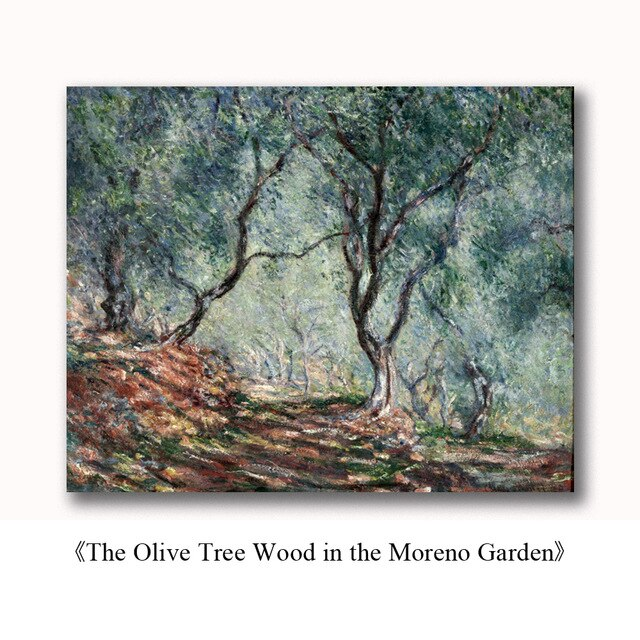 Famous Paintings Claud Monet Olive Tree Wood in the Moreno Garden Fine Art Canvas Print Classic Impressionism Landscape Wall Art Decor