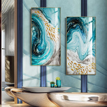 Load image into Gallery viewer, Golden Fishes In Blue Sea Swirls Abstract Wall Art Fine Art Canvas Prints Nordic Style Marble Effect Giclee Prints For Modern Home Office Interior Decor